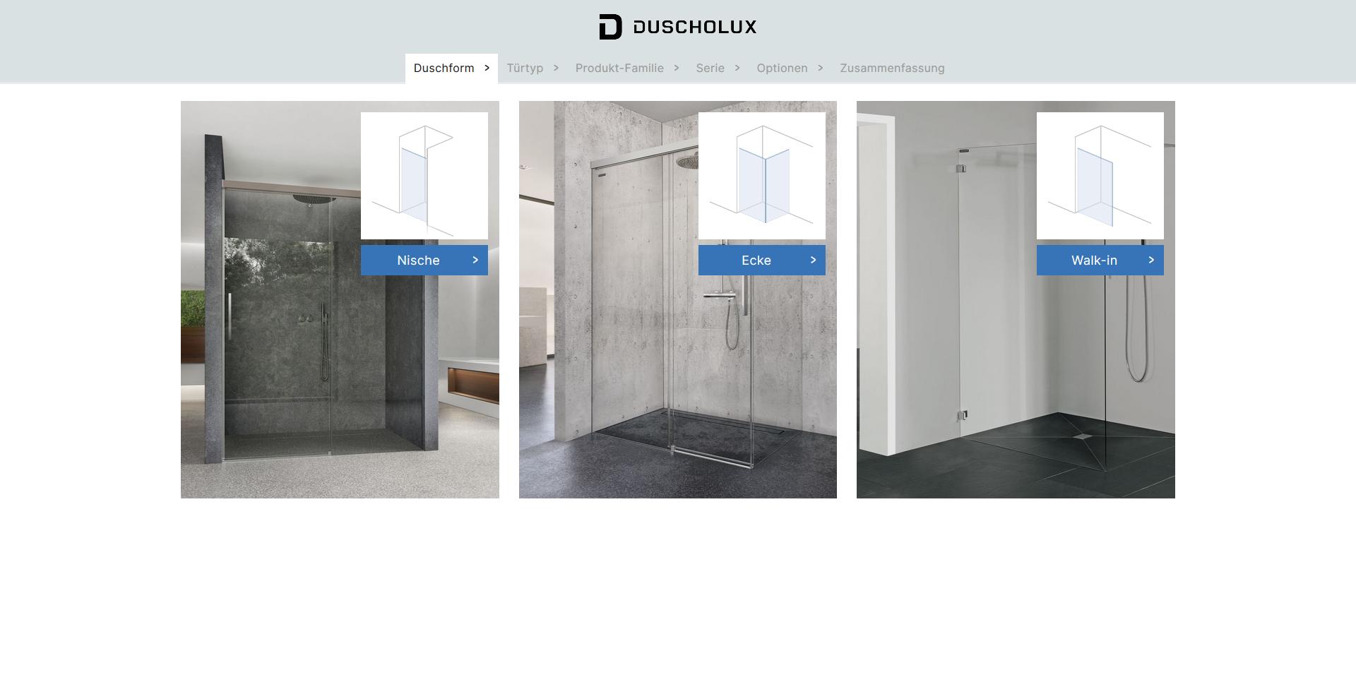 Duscholux Konfigurator Startseite