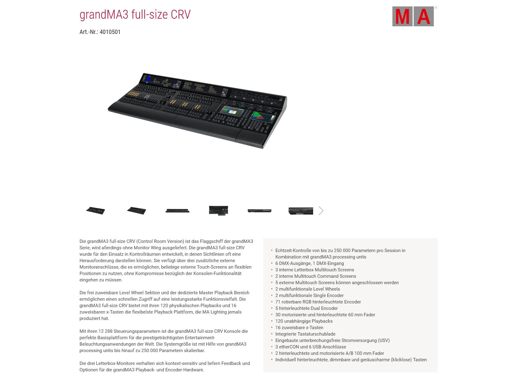 Detailübersicht Beispiel grandMA3 full-size CRV