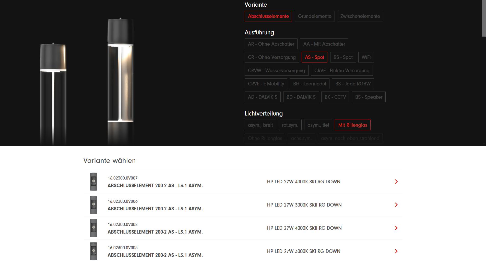 Hess Leuchten Produktkonfigurator mit Auswahl